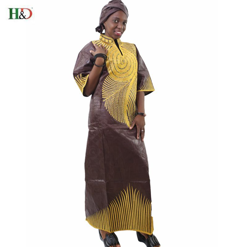 H & D Afrika bazin Moda kadınlar elbise yarım Kollu Nakış Riche - Ulusal Kıyafetler - Fotoğraf 3