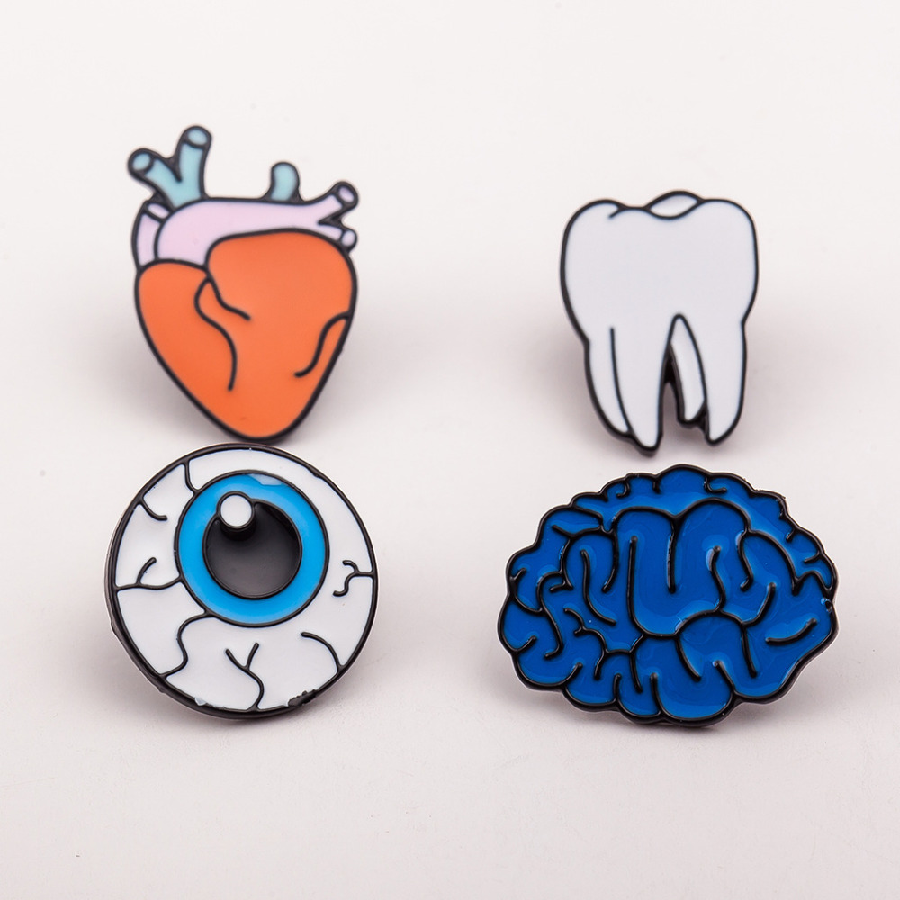 Women Men Brooches Organ Tooth Eye Heart Brain Brooch Pins Enamel Badges Fashion Accessories Clothes Shoes Package Jewelry
