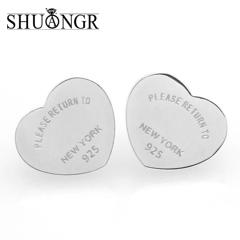 SHUANGR Silver Gold Color Petite Plain Hearts Stud Earrings for Women Silver Small Earrings Fine Jewelry brincos