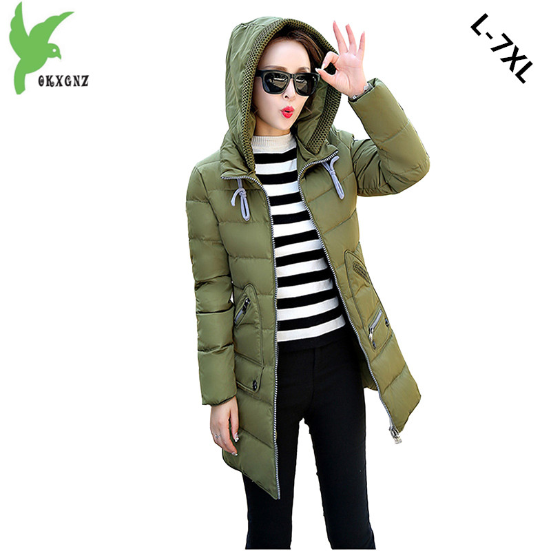 New Winter Women Down Cotton Jackets Fashion Solid Color Hooded Thicker Keep Warm Casual Tops Plus Size Elegant Coat OKXGNZ A752 new winter women cotton jackets solid color hooded long coat plus size fur collar thicker warm slim casual outerwear okxgnz a795