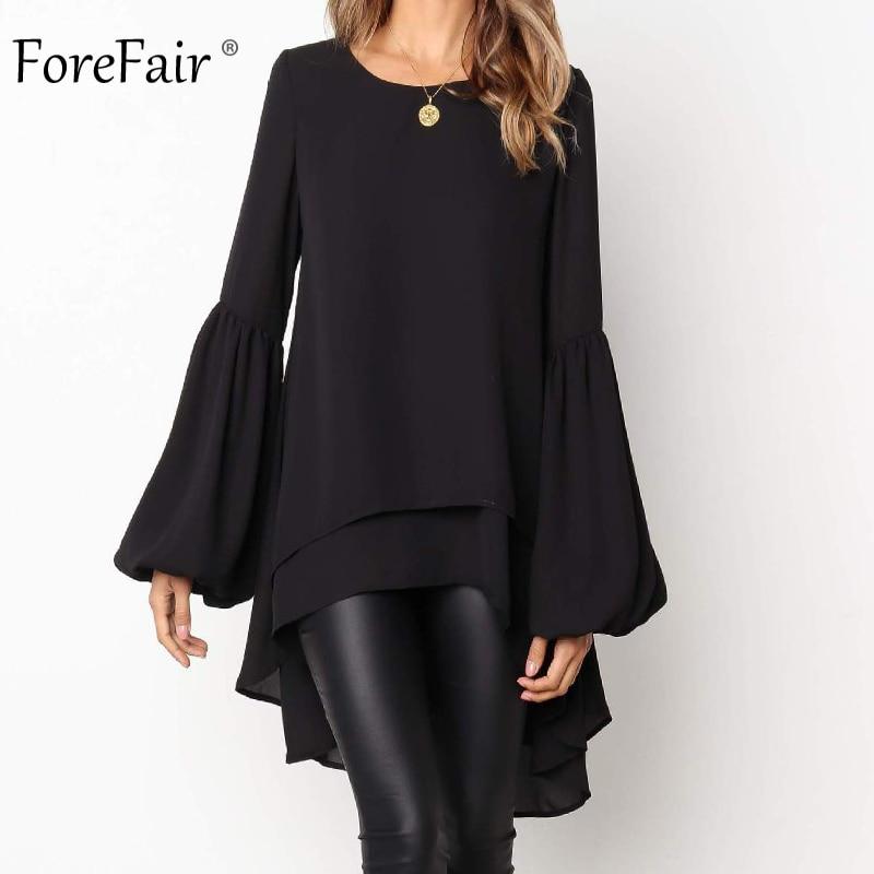 Forefair Lantern Sleeve Ruffle Chiffon Blouse Women Long Sleeve Fashion New Elegant Office Work Plus Size Blouse Long Winter