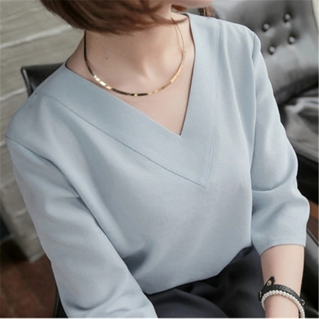 01e8599522b New 2016 Summer Tops V-neck Chiffon Blouse Office Ladies Top Women Work  Shirts Clothing Korean Cheap Clothes China White ZY2477