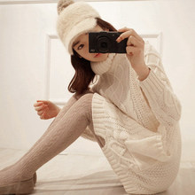 South Korean winter diamond needle pockets retro twist long sweater coat head thickened turtleneck pullover