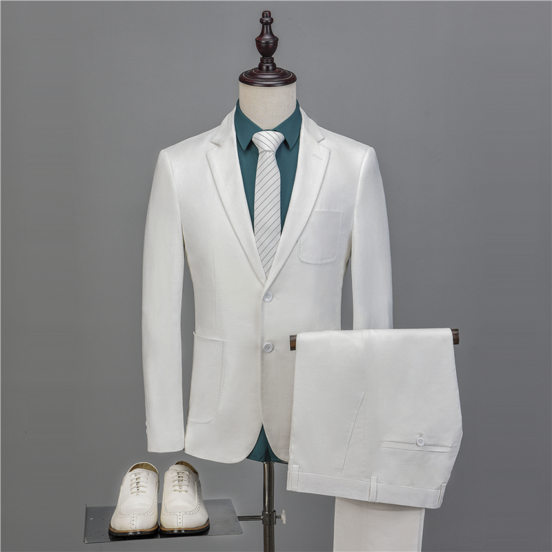 NA55 Latest Coat Pant Designs Two Buttons White Linen Custom Made Groom Blazer Men Suits 2 Pieces Slim Fit Terno Jacket+Pant