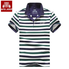 Brand Mens Polo Shirt Short Sleeve Striped Classic Turn-down collar Casual England Style AFS JEEP Men shirts New 2017