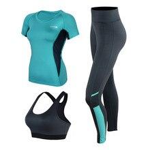 Juego del deporte de la Aptitud de Las Mujeres Pantalones de Jogging Gimnasio Ropa Mallas Para Correr Yoga Crop Top y Gimnasio de Secado rápido Camisas y Leotardos 3 Unidades de Yoga Set