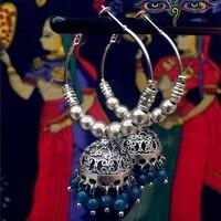 הודו כסף עתיק מעגל גדולה הגזמה ביד כלוב ציפורים של מזרח התיכון עגילי נשים עגילי ריקודי בטן יוגה בהודו