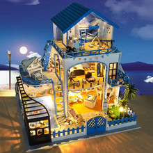 Doll House with Light Music Blues Aegean Sea Handmake DIY Construction Kit house Furniture Toys for Children Casa Juguetes