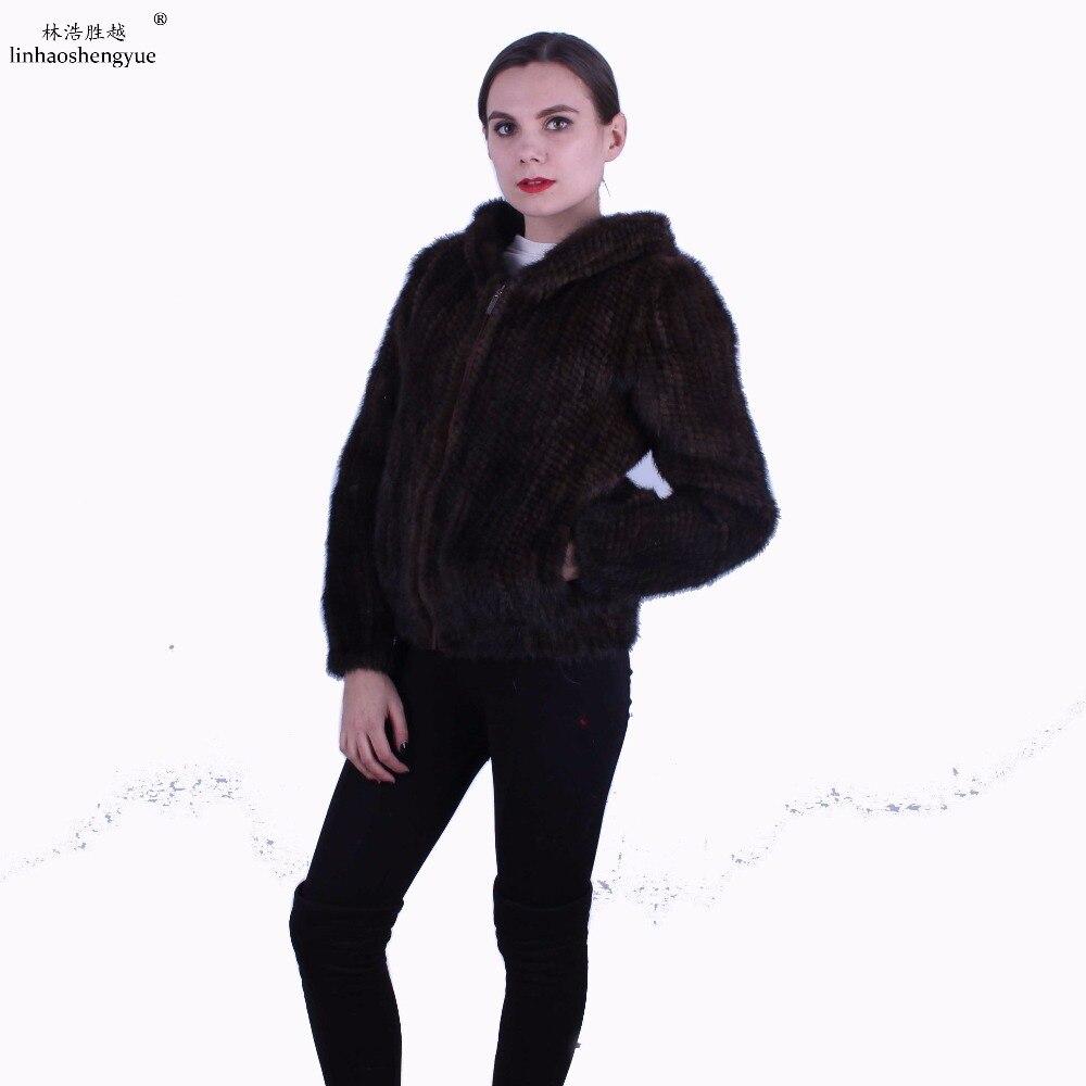 Linhaoshengyue women Mink fur knitting coat Real mink fur