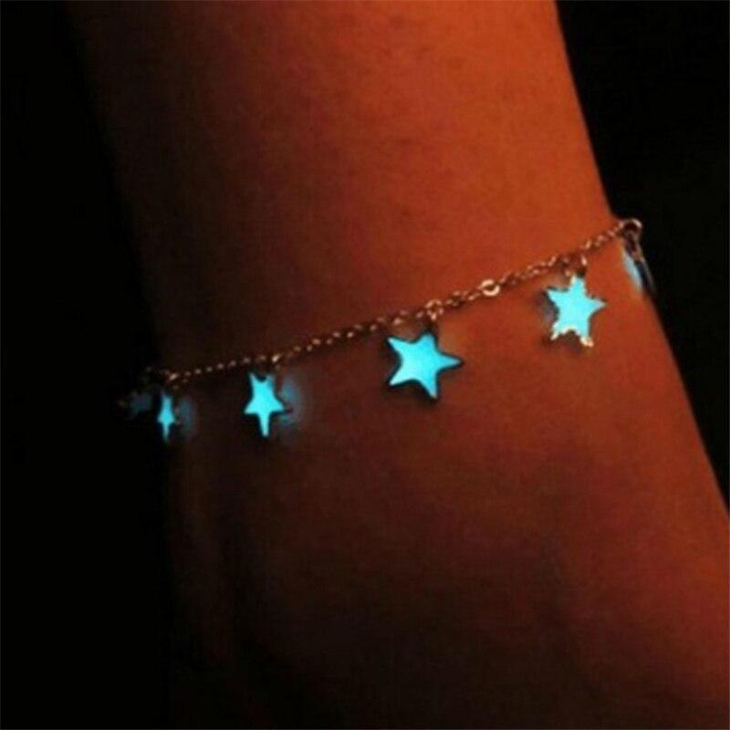 Пентаграмма фосфоресцирующий Серебристый браслет, флуоресцентный ножной браслет, трендовая милая романтическая цепочка, синие браслеты с...