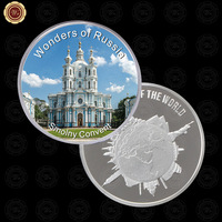 WR Collectible 999. Silver Plated Smolny Convent Challenge Coin Craft Novelty Zinc Alloy Coin Creative Birthday Gifts