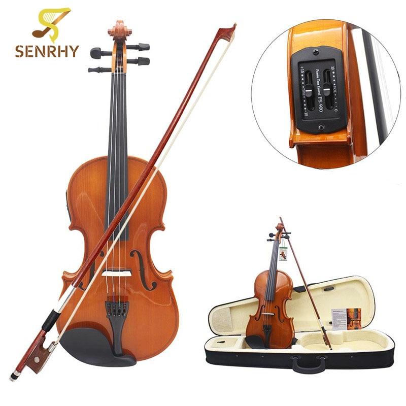SENRHY Full Size 4/4 Solido Tiglio Elettrica Acustica Violino Con Custodia Del Violino Arco Colofonia Stringhe Accessori Per Gli Amanti Musicale