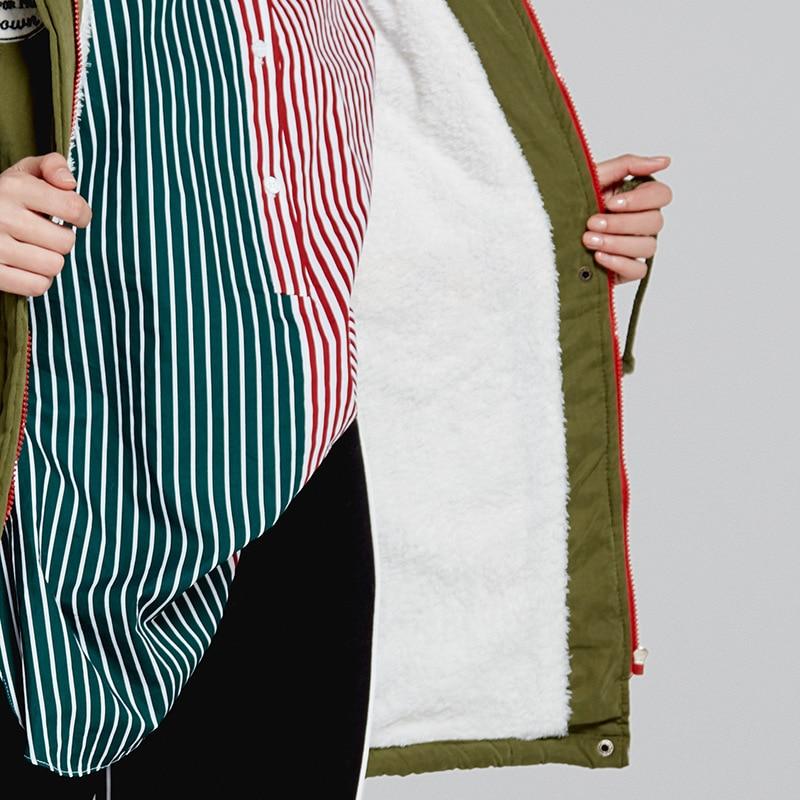 Manches Plein Capuchon Taille Noir Coton rouge Parkas kaki De rose À Streetwear Bleu vert Ceciliayu Slim Arrivée marine 2018 Nouvelle Longues Femmes bleu En wxIqOAAXP