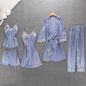 Image 4 - Sexy Vrouwen pyjama 5 Stuks Satin Pyjama Set Vrouwelijke Kant Pyjama Nachtkleding Homewear Zijde Slaap Lounge Pijama met Borst pads