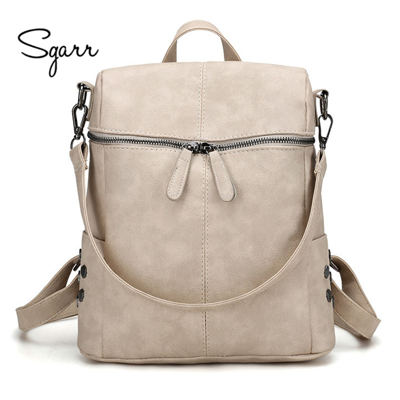 SGARR Women Black Backpack Youth Leather Backpacks for Female School Shoulder Bag Bagpacks Teenage Girls Travel School Bags zency genuine leather backpacks female girls women backpack top layer cowhide school bag gray black pink purple black color