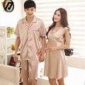 Lovers Homewear Silk Women Nightdress Short Sleeves Plus Size Sleepwear Couple Onesie Nightwear Suit