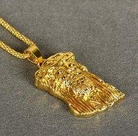 YSN1 Men Jewelry Gold Plated GOD BLESS Jesus Portrait Necklace Men S Necklace Long 75CM Hip