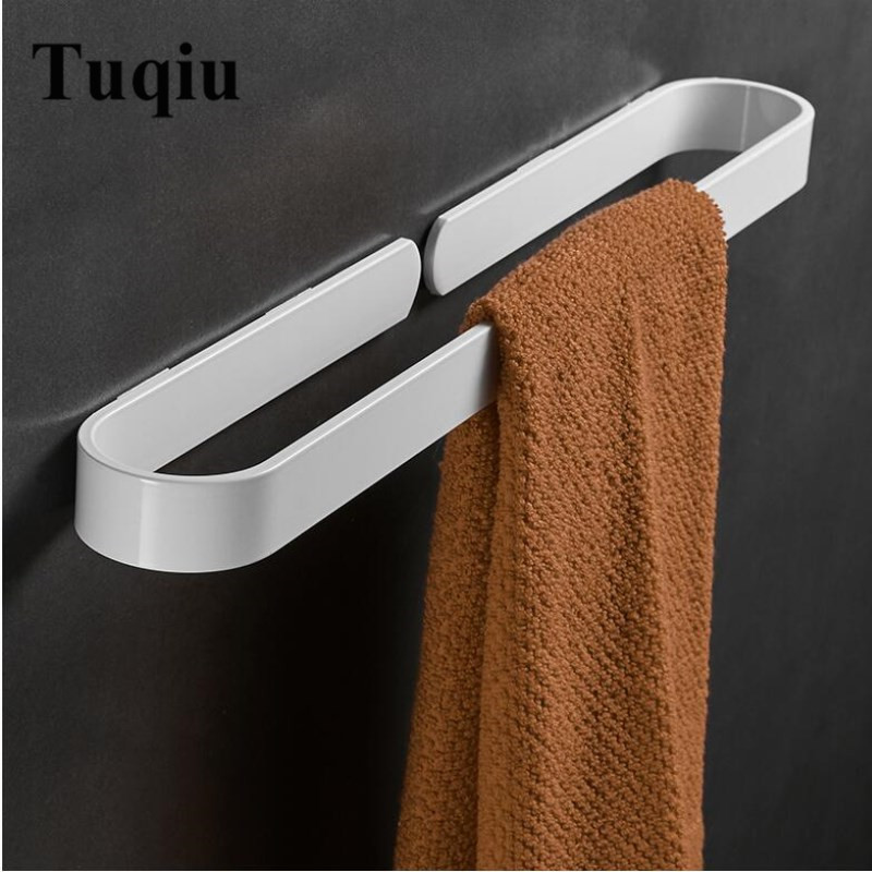 Nail free Solid Aluminum white Towel Bar Single Towel Rack Bathroom Matte white Towel Holder 30/40/50/60 cmNail free Solid Aluminum white Towel Bar Single Towel Rack Bathroom Matte white Towel Holder 30/40/50/60 cm