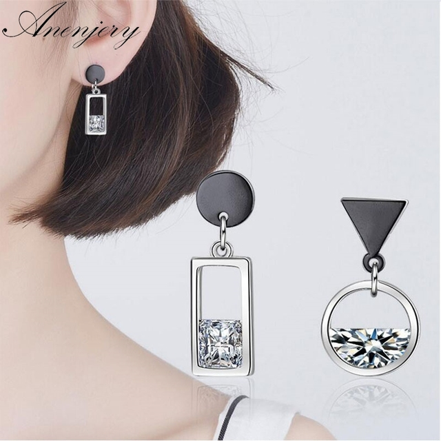7176a16b929 Anenjery 925 Sterling Silver Earrings Spring Water Zircon Gun Black Color Circle  Square Asymmetric Tassel Earrings S-E518