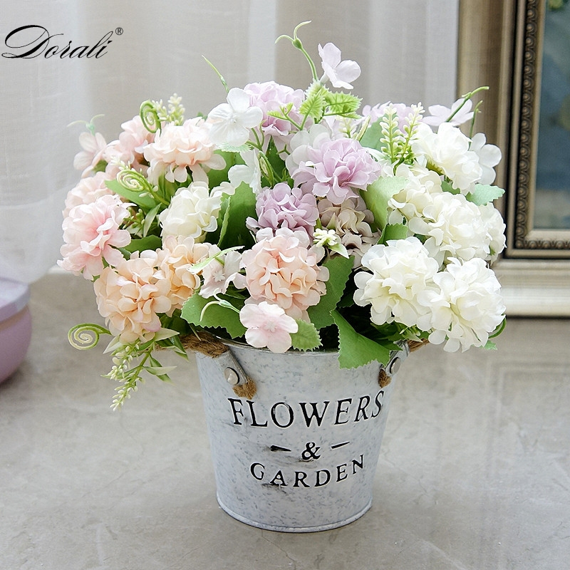 9 Heads Hydrangea Artificial Flowers Ball Bunch Fake Flowers Silk DIY Home Decor Faux Flowers Wedding Decoration Table Bouquet