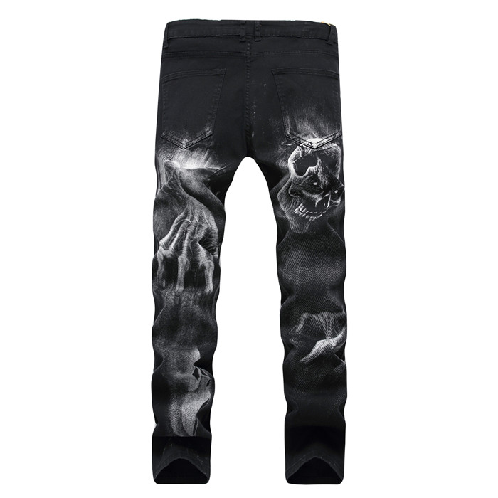 2018 good quality Mens Wolf head printing pattern black jeans youth Men student cowboy trousers size: 38code 40code 42code