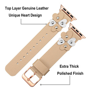 Image 3 - Bandream Women Leather Watchband for iWatch Apple Watch 5 4 3 2 1 44mm 40mm 42mm 38mm Wrist Band Female Strap Rose Gold Silver