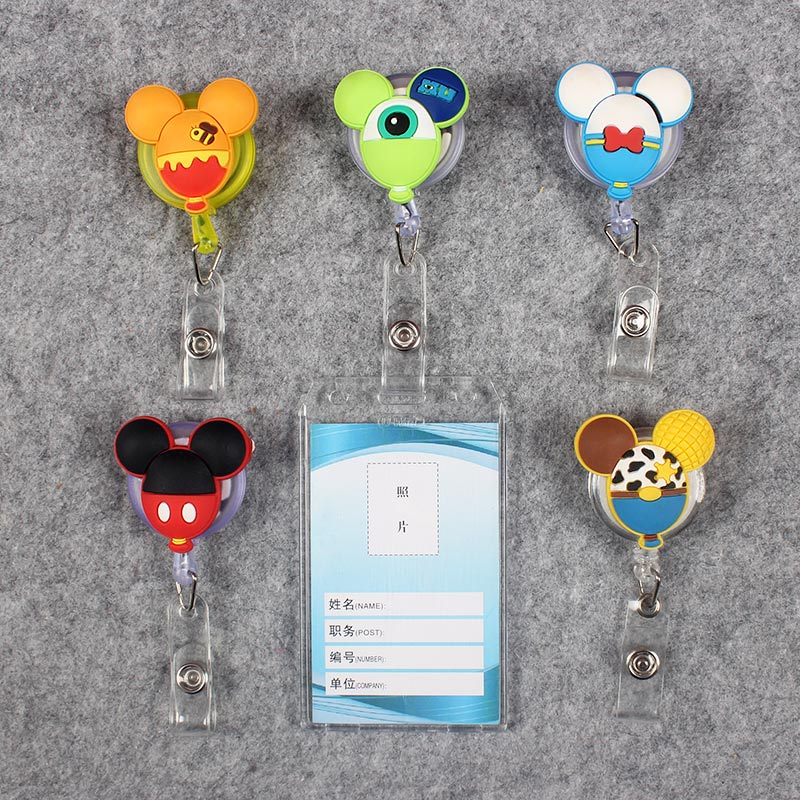 Transparent PVC Badge Scroll Nurse Reel Cute G Character Scalable Colors Cute Mouse Nurse Exhibition ID  Plastic Card Holder