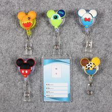 Transparent PVC Badge Scroll Nurse Reel Cute G Character Scalable Colors Mouse Exhibition ID  Plastic Card Holder