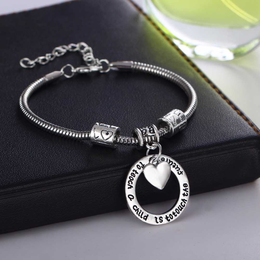 Love Heart Beads Chain Teachers Bracelets To Teach A Child Is To Touch The Future Charm Bracelet Teacher Bangle Jewelry Gifts