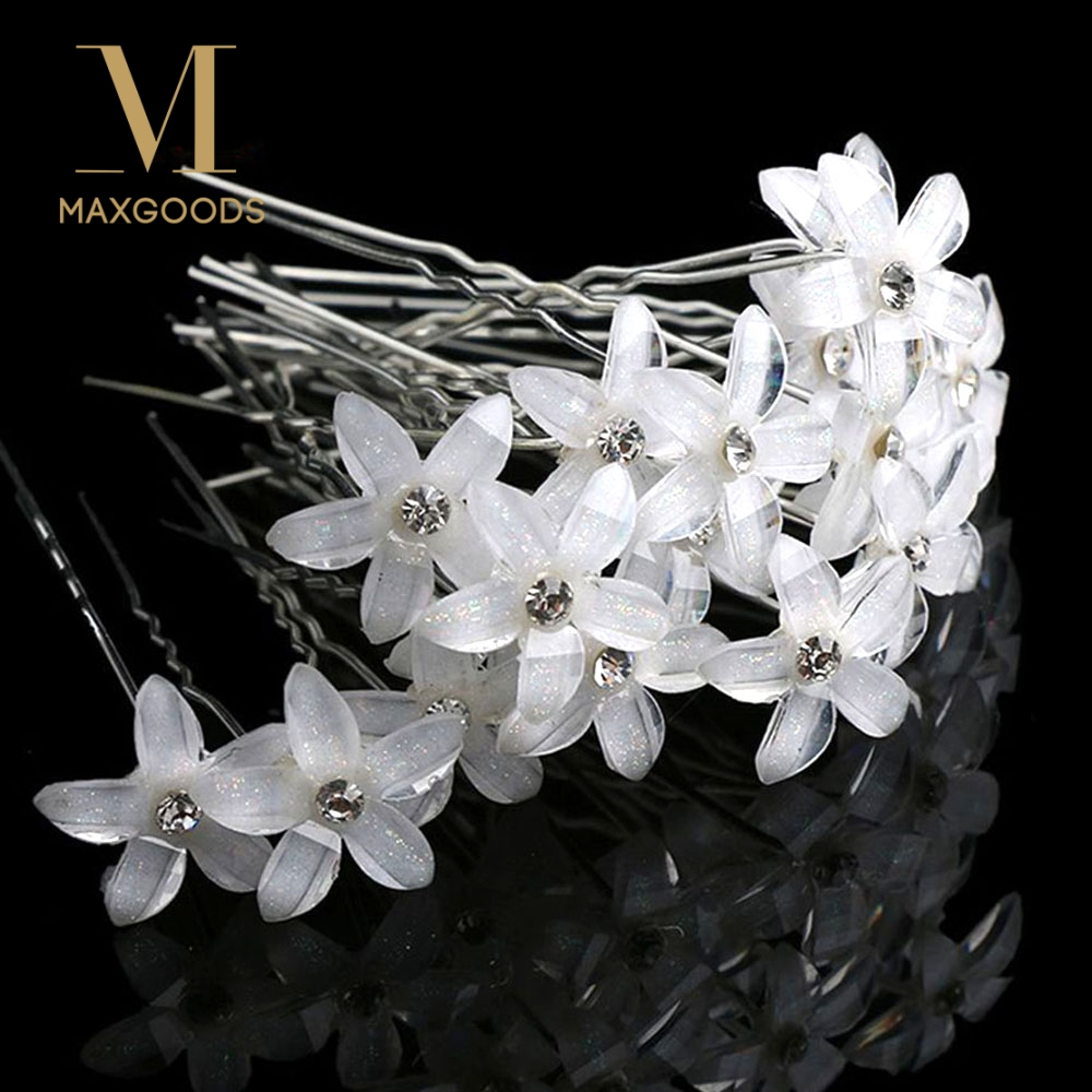 maxgoods 20pcs/set White Stick Wedding Women Bridal Hairpin