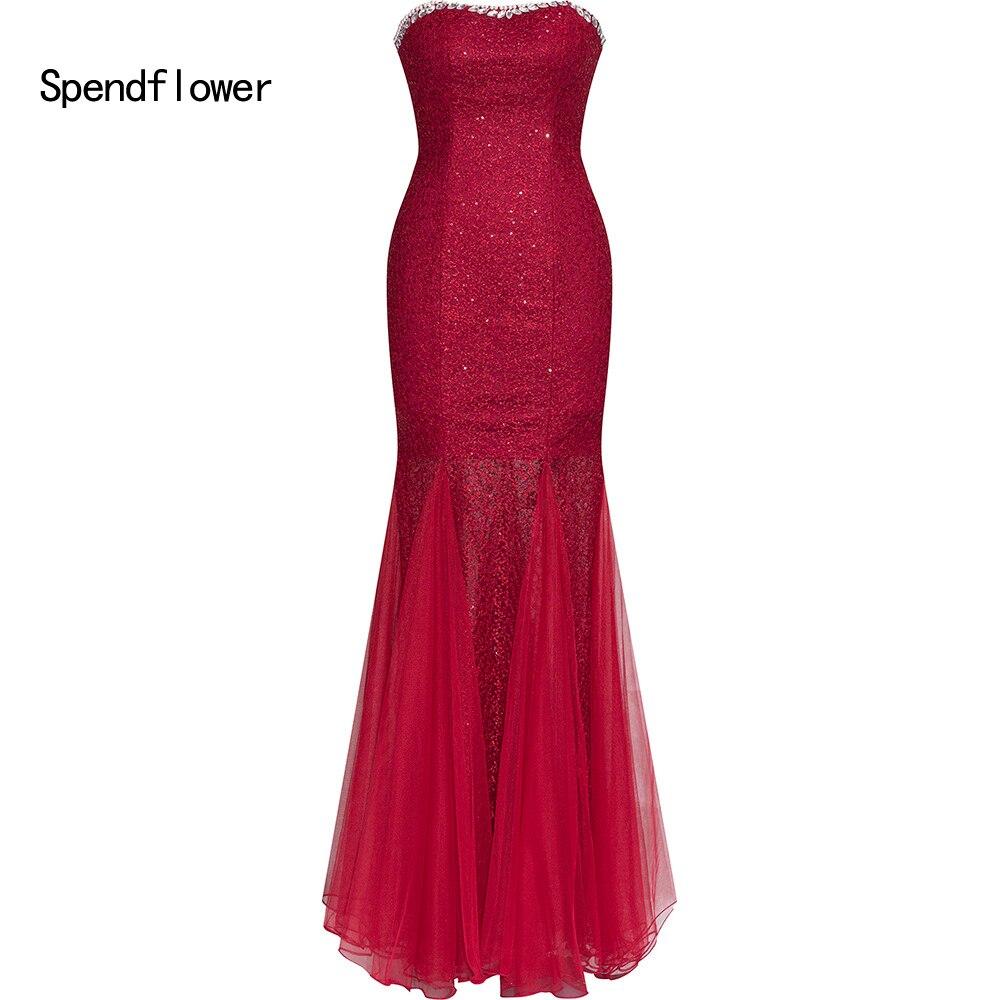 Robe de soirée Spendflower pour femmes robe de bal paillettes sirène longue robe formelle adulte robe de soirée G-069RD