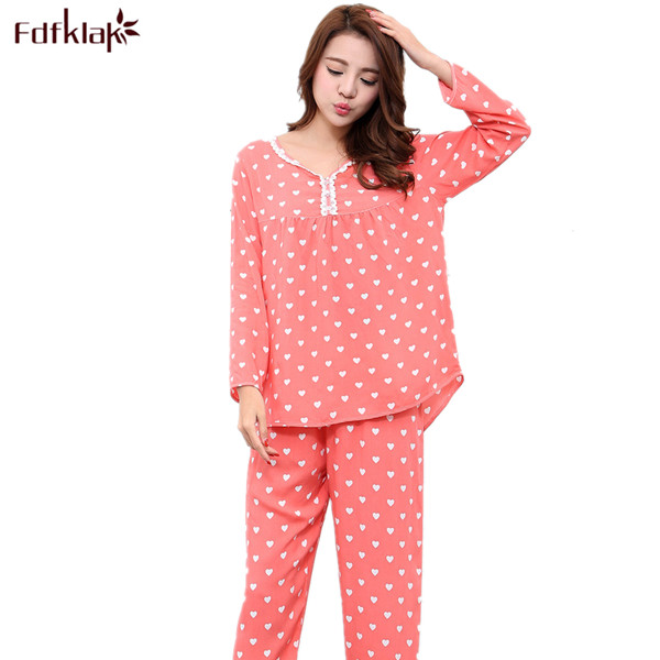 71f053ec8f L XL XXL Women Sleepwear Pajamas Sexy Two Piece Set Cotton Pajamas Women  Clothes 2017 Spring Autumn Cute Pyjamas Pijama set Q117
