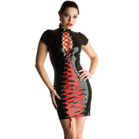 Bán buôn Glossy Wet Look Faux Leather Mini Dresses Sexy Nữ Cao Cổ Ngắn Tay Áo Front Lace Up Club Bodycon Dress