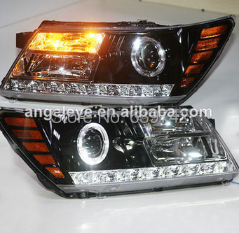 For Dodge Journey JCUV LED Strip Headlight with Bi Xenon Projector Lens 2009-2014 Year for chevrolet cruze tuning bi xenon projector lens head lights with led turn light 2015 year new arrival
