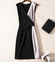 Novelty Designer Women Colorblock Dress Sleeveless V Neck Casual Dresses F6527