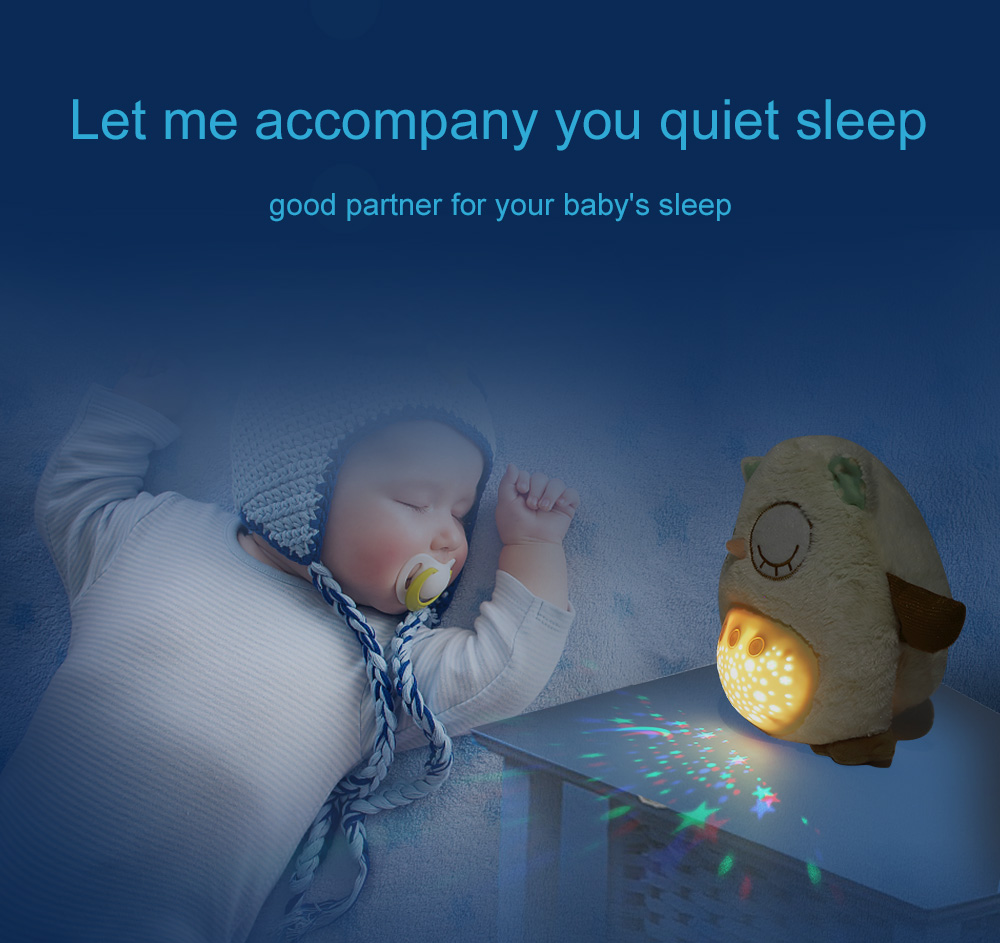 Sleep Music For Kids Baby Sleeping Night Light Plush Stuffed Animal Toys With Music Stars Projector Led Sleep Light Bear Owl Partner For Baby Kids