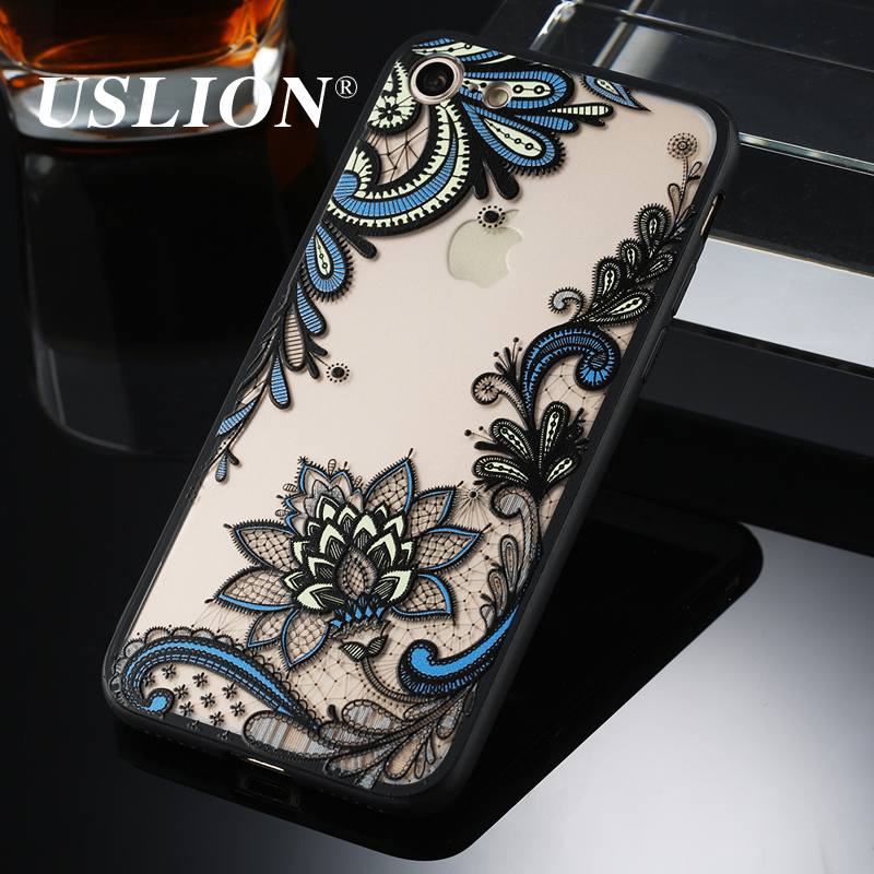 Sexy Retro Flower Pattern Phone Case For Apple iPhone 6 6s 7 7 Plus Hard PC Transparent Cases Back Cover Coque For iPhone 7Plus