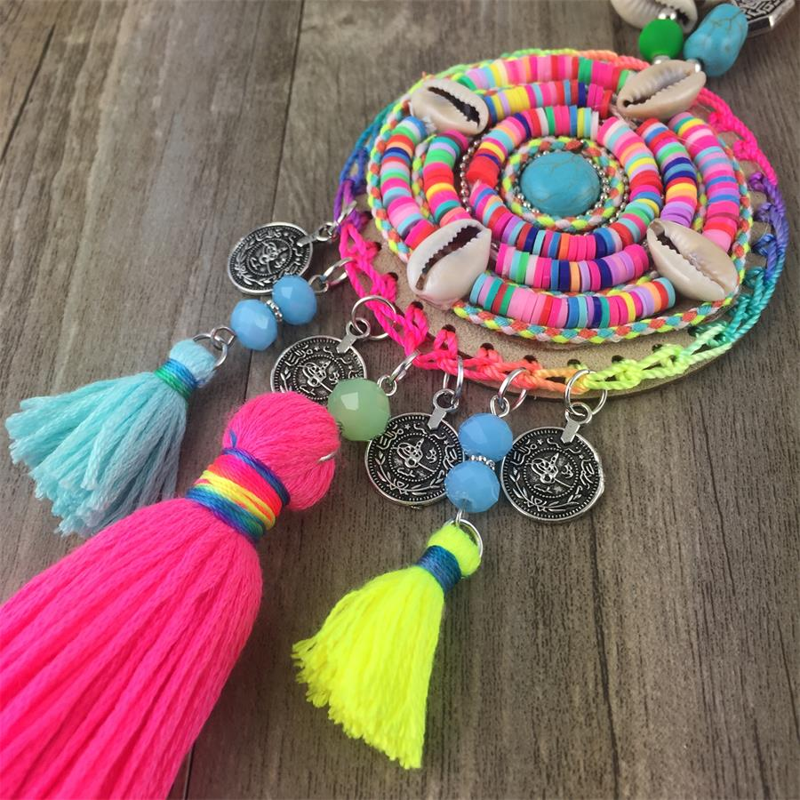 Handmade Women Long Necklace Boho Bohemian Necklace Accessories Colorful Vintage Ethnic Punk Style Fashion Jewelry in Pendant Necklaces from Jewelry Accessories