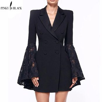 Pinky Is Black 2019 Spring Autumn Womens Blazers New Fashion Jackets Suit Casual Lace Spliced Flare Sleeve Lapel OL Hot Blazer