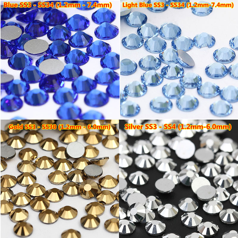 Good Feedback 1440pcs Top Quality Nail Crystal AB Glass Non Hotfix Rhinestone SS16 SS20 SS30 Non Hot Fix Stones Nail Decoration
