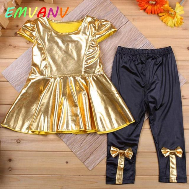 e3a4c1402 US $3.67 8% OFF Clearance Summer Little Girl Gold Princess Shirt  Dress+Legging Pants Baby Children Clothing Sets Outfits 2Pcs-in Clothing  Sets from ...