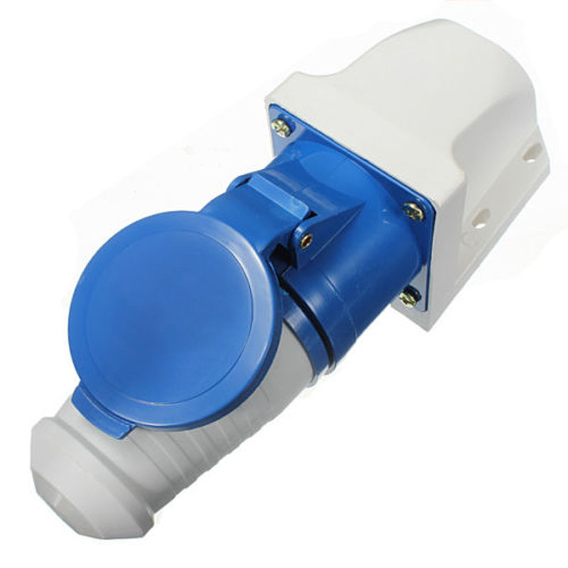 цена на 32A AMP 3 Pin Blue Plug & Wall Mount Socket Waterproof Caravans IP44 Lead