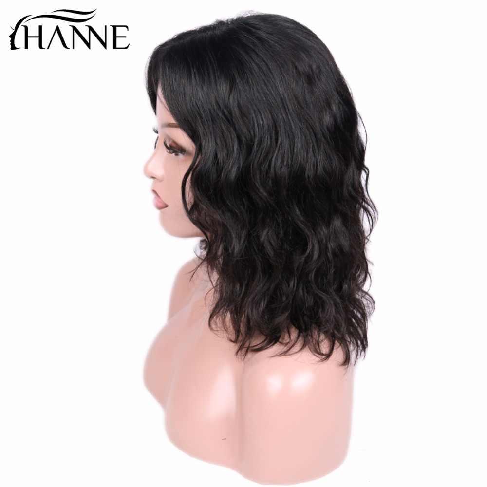 Pelucas delanteras de encaje HANNE corto Bob para mujeres cabello humano onda Natural indio Remy negro Natural/99j Pre desplumado nudos blanqueados