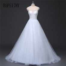 BEPEITHY Real Image Wedding Dress Lace Top Vestido De Novia White Wedding Dresses 2017 Robe De Mariage Cheap Bridal Gowns 2017