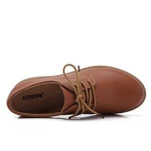 Image 4 - حذاء من الجلد الصناعي للنساء من JZZDDOWN حذاء أكسفورد للنساء برباط علوي حذاء بدون كعب خريفي فاخر للنساء