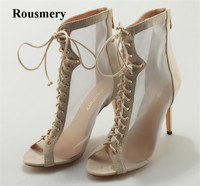Women New Fashion Rousmery Open Toe Lace up Mesh Ankle Boots Cut out High Heel Short Nude Boots High Quality Shoes