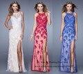 Moda blanco borgoña Royal Blue encaje Vestido de fiesta 2015 sirena vestidos de noche formales Backless dividir Sexy Vestido largo del Vestido de Renda