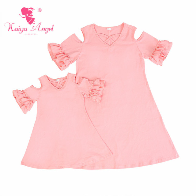 32a56b8835b87 Kaiya Angel 2018 Family Matching Outfits Light Pink Cotton Mother Daughter  Matching Dresses Birthday Wedding Party Clothes