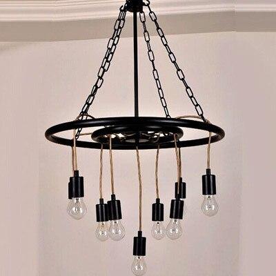 Modern Pendant Light Loft Kitchen Design Rope Lamp wheel Black Painting Iron Simple Style E27 220V For Decor Home Lighting