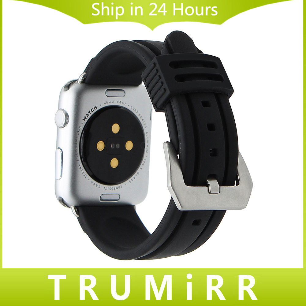 Rubber Watchband Stainless Steel Pre-v Buckle Strap for 38mm 42mm iWatch Apple Watch Silicone Band Wrist Belt Bracelet Black 22mm 24mm silicone rubber band for 38mm 42mm iwatch apple watch sport edition stainless steel buckle strap bracelet with adapter